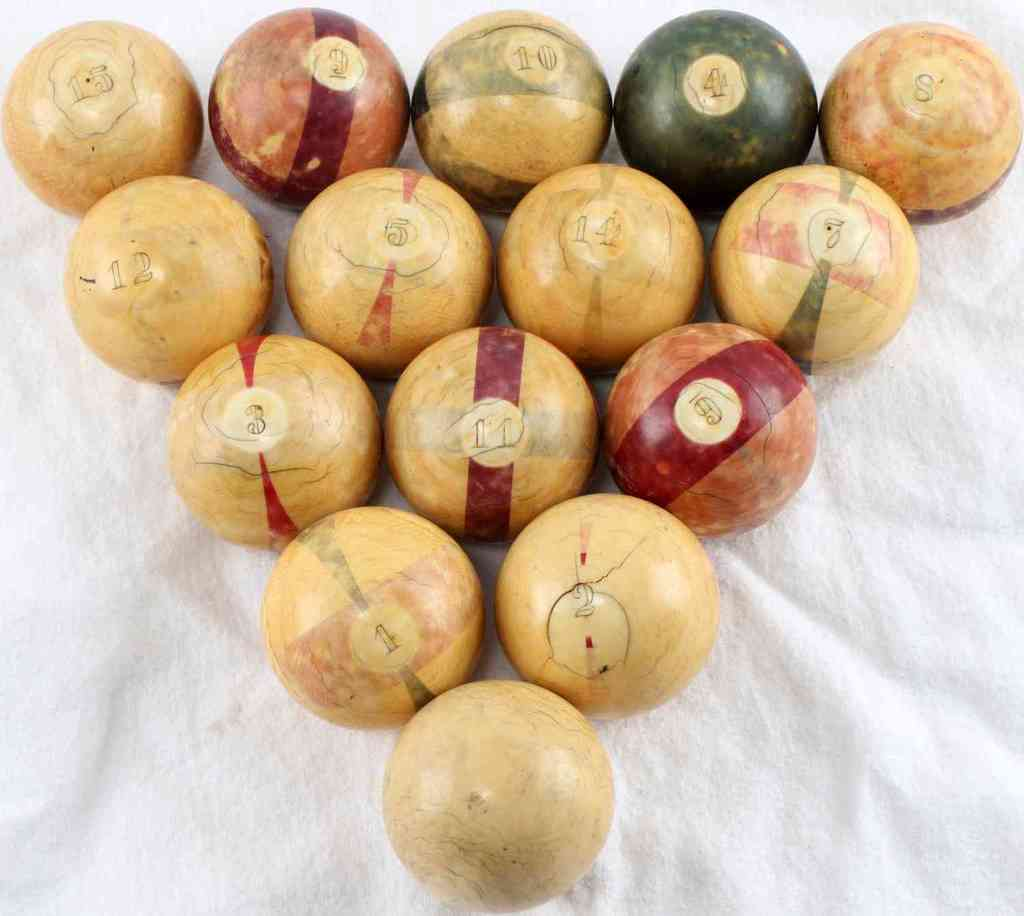 ANTIQUE CIVIL WAR ERA IVORY BILLIARD BALL SET
