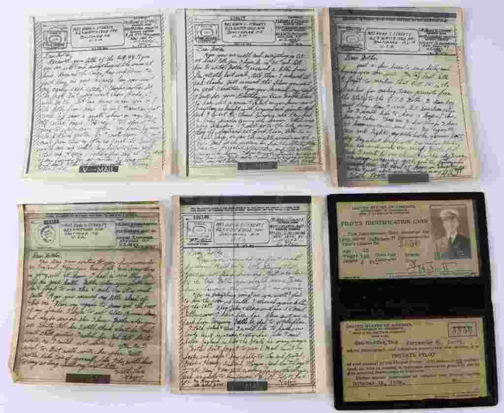 LOT OF 5 WWII V-MAIL & NAVAL AVIATORS CERTIFICATE