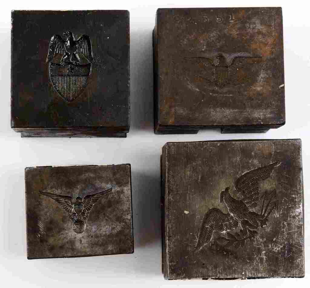 LOT OF 4 AMERICAN EAGLE DIE STAMPS US MILITARY