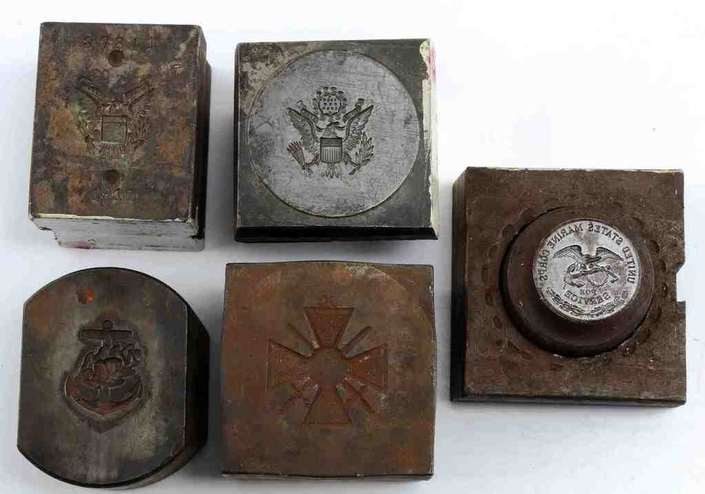 LOT OF 5 WWII MILITARY DIE STAMPS USMC MERIT CROSS