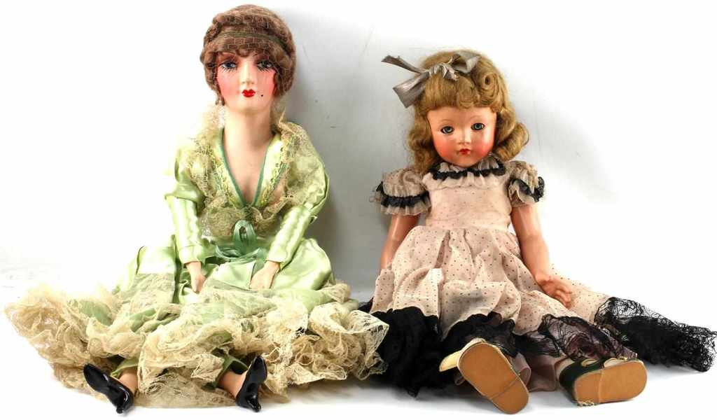 TWO PORCELAIN DOLLS EFFANBEE WITH ORIGINAL BOX