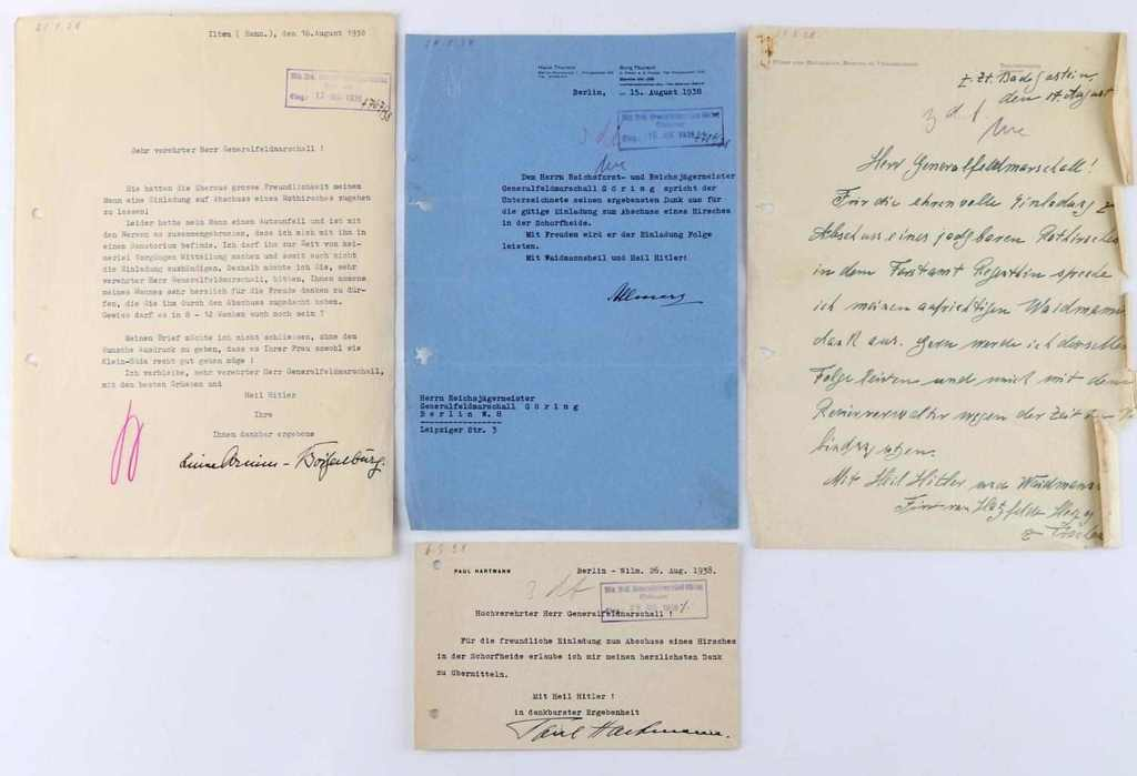 WWII GERMAN FIELD MARSHALL GORING LETTERS TO HIM