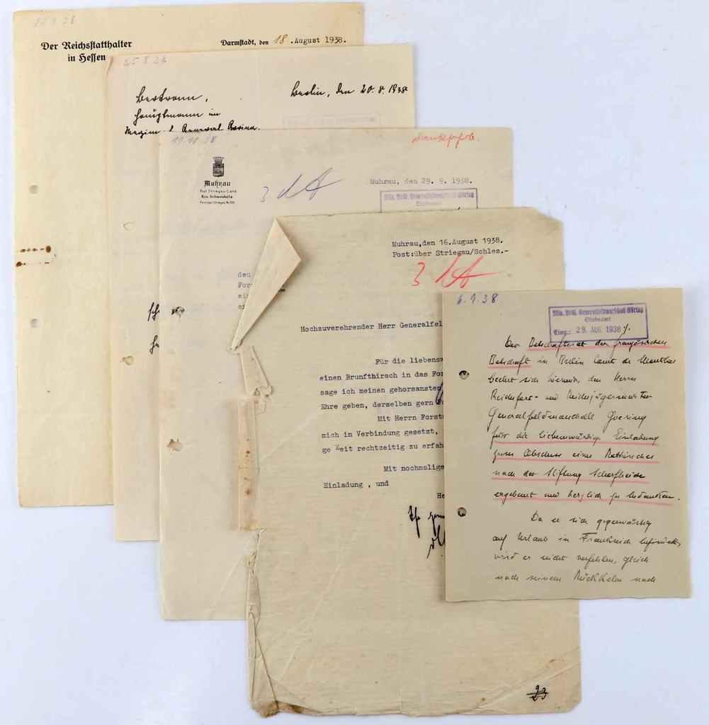 5 WWII THIRD REICH DOCUMENTS TO HERMANN GORING
