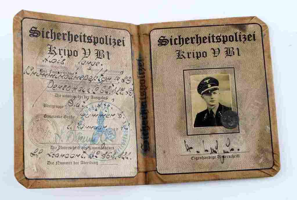WWII SS THIRD REICH GERMAN SICHERHEITSPOLIZEI ID