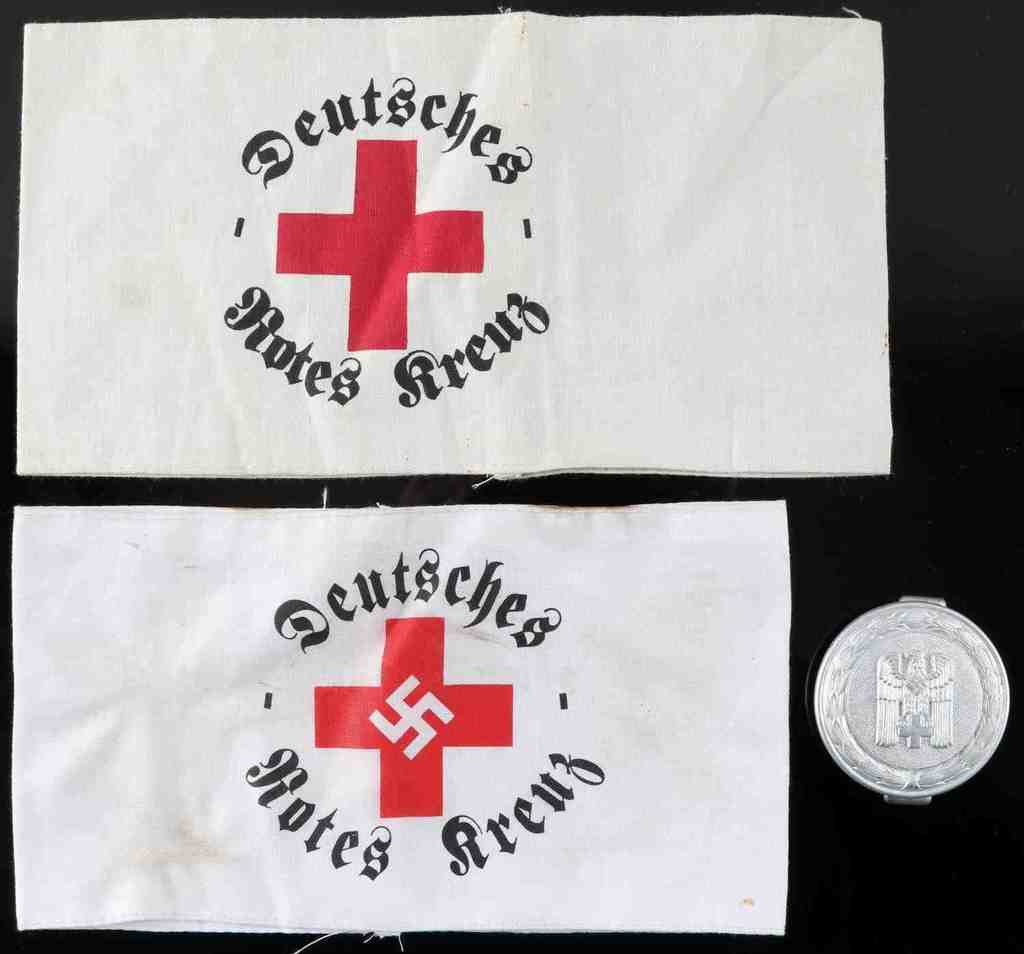 WWII GERMAN RED CROSS ARMBAND AND BELT BUCKLE LOT