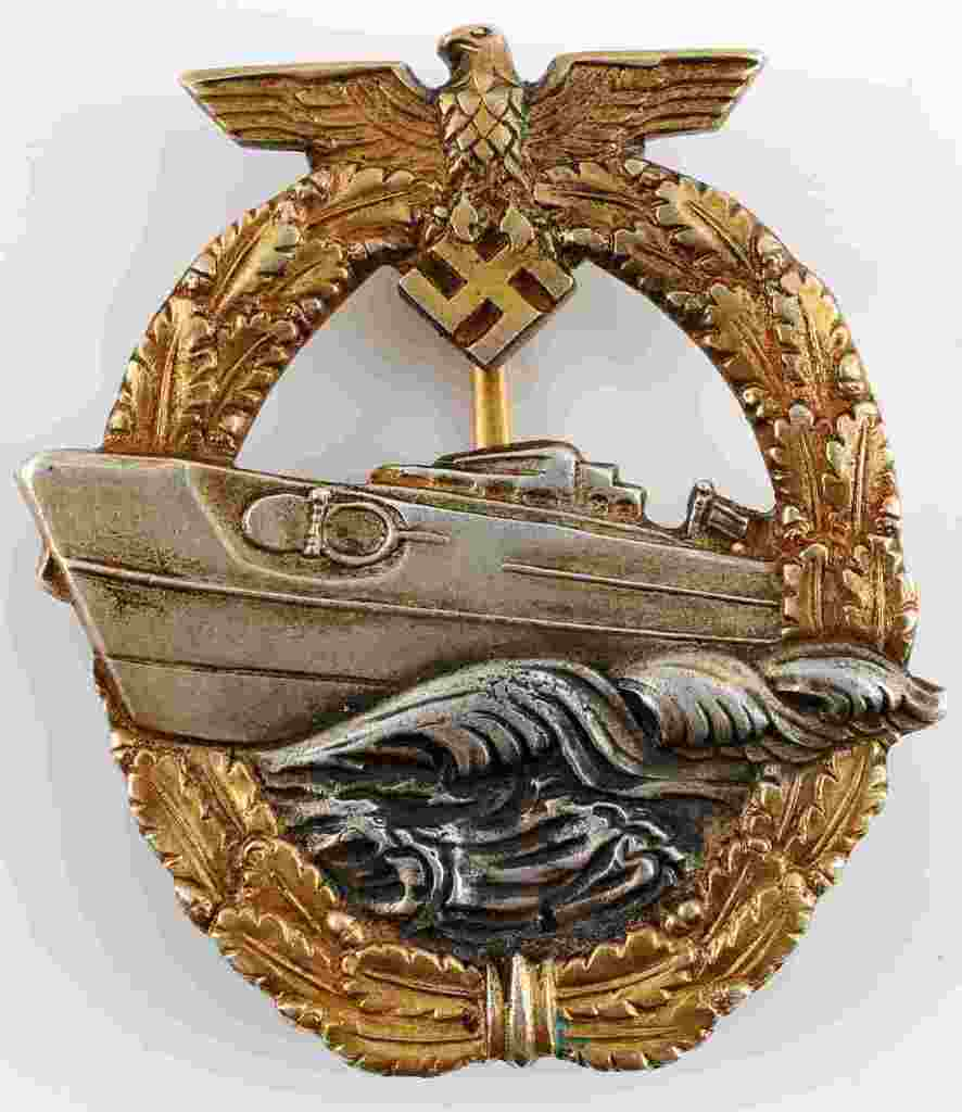 WWII GERMAN FAST ATTACK CRAFT WAR BADGE 2ND MODEL