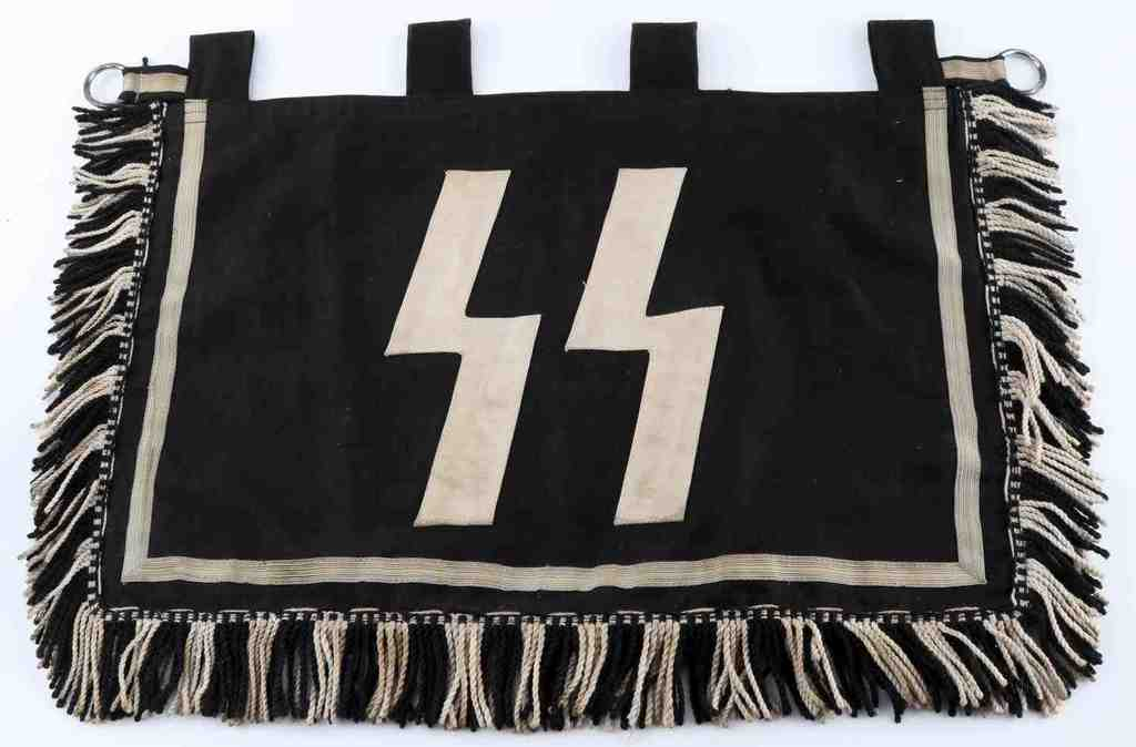 WWII GERMAN THIRD REICH WAFFEN SS TRUMPET BANNER