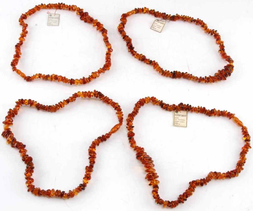 4 STRANDS OF RUSSIAN BALTIC AMBER BEADS