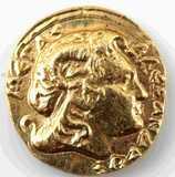 ANCIENT GREEK GOLD TRIHEMIOBOL 1/4 STATOR MACEDON