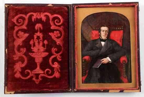 SEATED PORTRAIT MINIATURE IN TOOLED LEATHER CASE