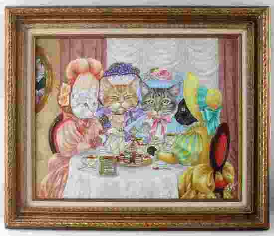 RON ROPHAR FRAMED PAINTING OF CATS HAVING TEA