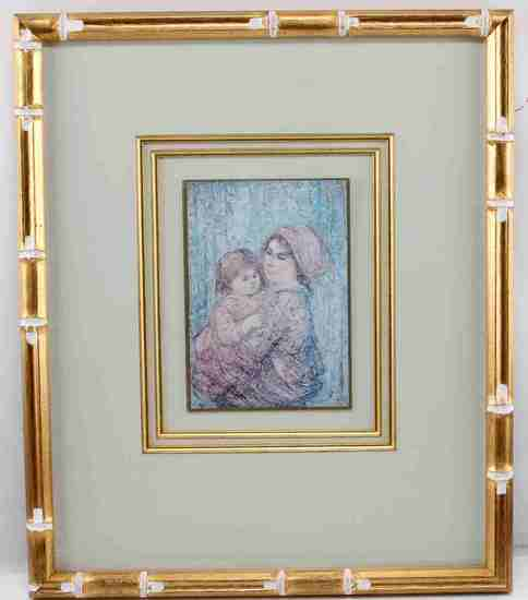EDNA HIBEL FRAMED LITHOGRAPH WOMAN & CHILD