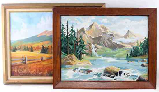TWO VINTAGE MOUNTAIN LANDSCAPES OIL ON CANVAS