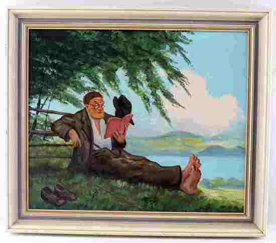 FRAMED FOLK ART PRIMITIVE STYLE LANDSCAPE PORTRAIT