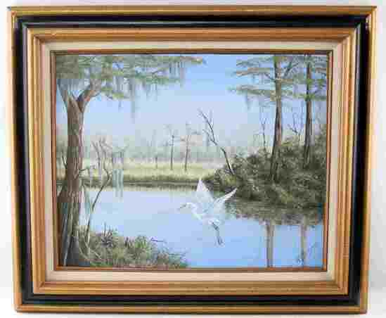 SIGNED HIGHWAYMAN STYLE LANDSCAPE W TREES & BIRD