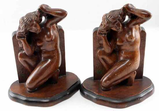 HAND CARVED WOODE NUDE BOOKENDS