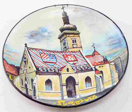 HAND PAINTED PLATE ST MARKS CHURCH ZAGREB CROATIA
