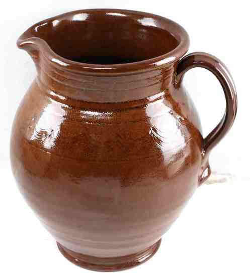 NICE LARGE BROWN GLAZED POTTERY PITCHER