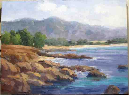 KAREN WILKINSON GICLEE WRAP BEACH MOUNTAIN SCENE
