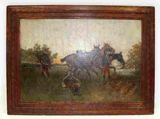 19TH CENTURY OIL ON BOARD PAINTING FRENCH SOLDIERS