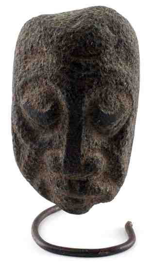 HANDCARVED LATE TAINO SERPENTINE ANCESTRAL MASK