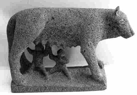 BASALT STATUE OF ROMULUS & REMUS W NURSING WOLF