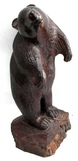 HAND CARVED MAHOGANY BEAR STANDS 14 INCHES