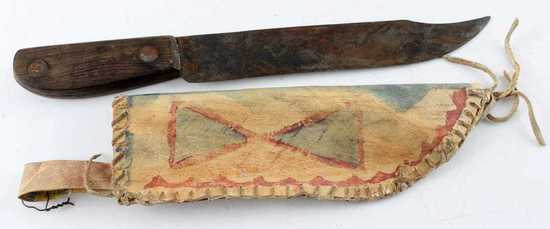 PARFLECHE PERIOD PLAINS INDIAN KNIFE AND SHEATH