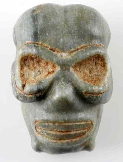 TAINO NATIVE AMERICAN CARVED STONE SKULL HEAD