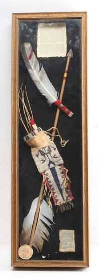 INDIAN TERRITORY FRAMED SIOUX ARROW & PAINT BAG