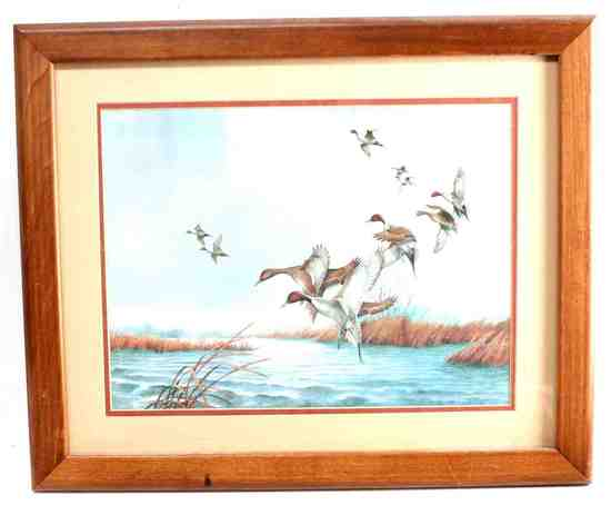 CHARLES MURPHY PRINT OF DUCKS FLYING ABOVE WATER