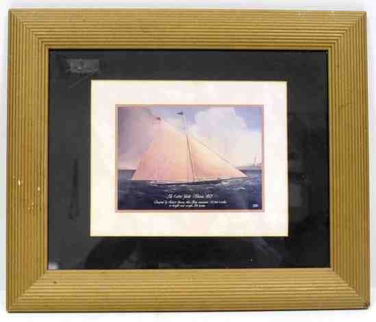FRAMED CUTTER YACHT MARIA 1857 OFFSET LITHO BY MRW