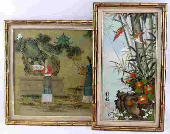 LOT OF 2 FRAMED ASIAN PIECES WOODBLOCK & PAINTING
