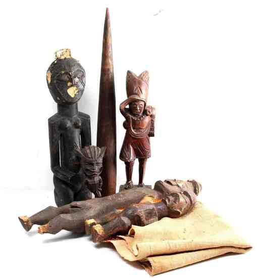 AFRICAN NATIVE AMERICAN POLYNESIAN WOOD FIGURES