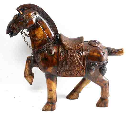 CARVED & INCISED WOODEN & METAL HORSE