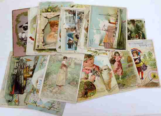 LOT OF 33 ANTIQUE VICTORIAN 1890S TRADE CARDS