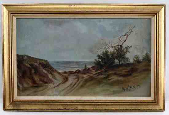 DAVID BURLIUK SIGNED LANDSCAPE PAINTING
