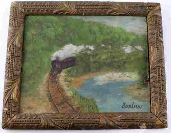 DAVID BURLIUK PAINTING OF TRAIN THROUGH LANDSCAPE