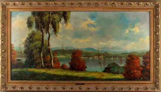 A. FERRETTI 19TH CENTURY OIL LANDSCAPE PAINTING