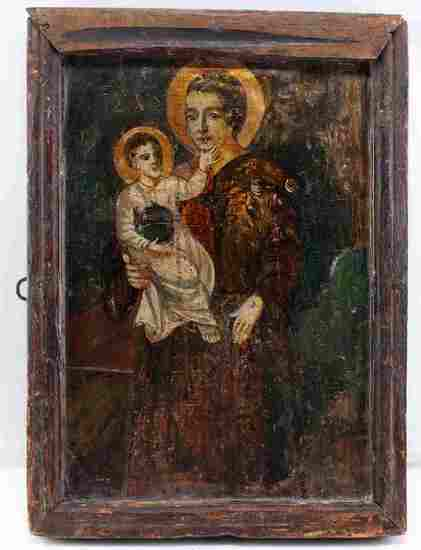 17TH C RUSSIAN ICON CHRIST CHILD & ST ANTHONY