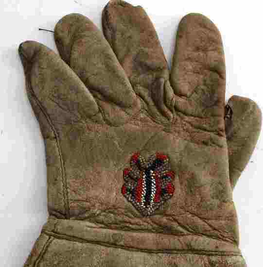 NATIVE AMERICAN BEADED LEATHER GAUNTLET GLOVES
