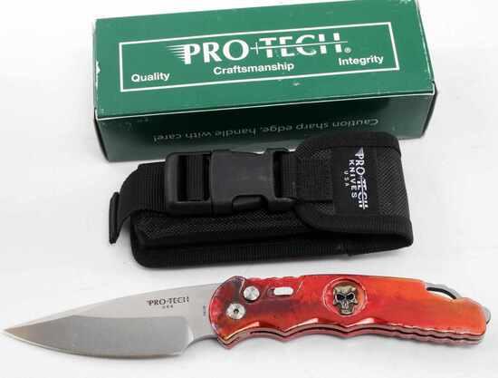 PROTECH TR 4.64 SKULL SPLASH PROTO SPRING KNIFE
