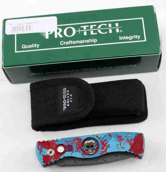 PROTECH TR 2 SKULL DAMASCUS SPRING LOADED KNIFE