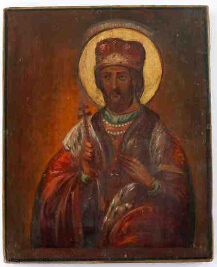 ANTIQUE 19TH C RUSSIAN ICON OF ALEXANDER NEVSKY