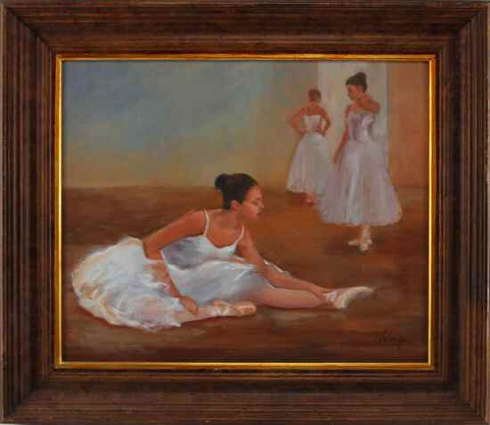 JOSEPH PALAZZOLO THREE BALLERINAS OIL PAINTING