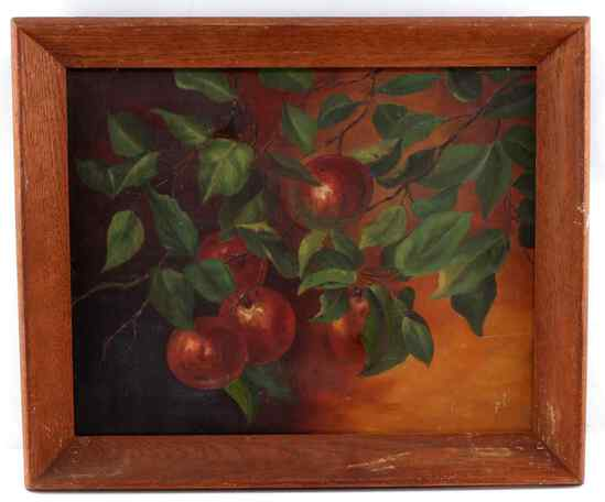 FRAMED OIL ON CANVAS CLOSE UP OF APPLES ON A TREE