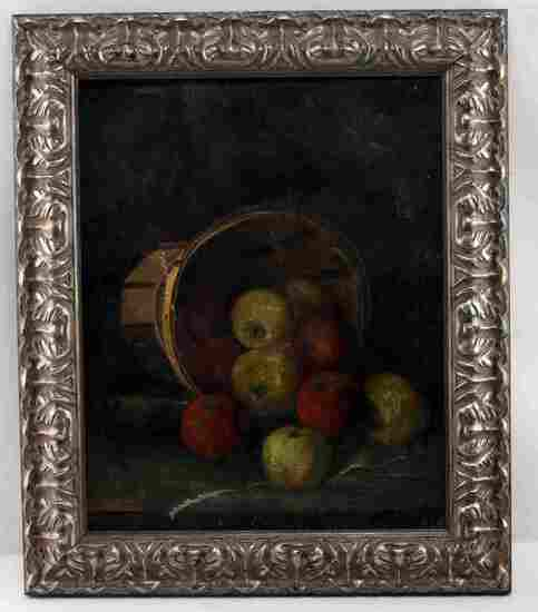OIL ON CANVAS STILL LIFE OF APPLES IN BASKET
