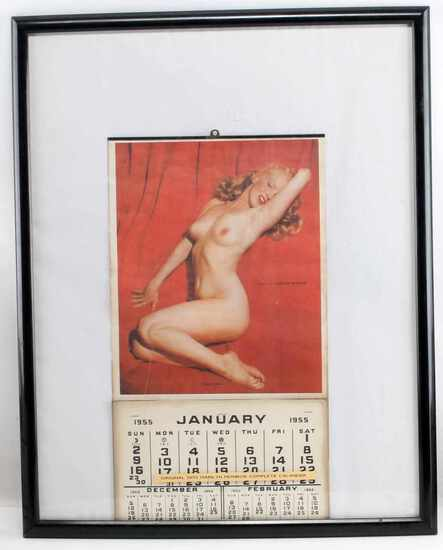 1955 ORIGINAL MARILYN MONROE CALENDAR FRAMED 23X28