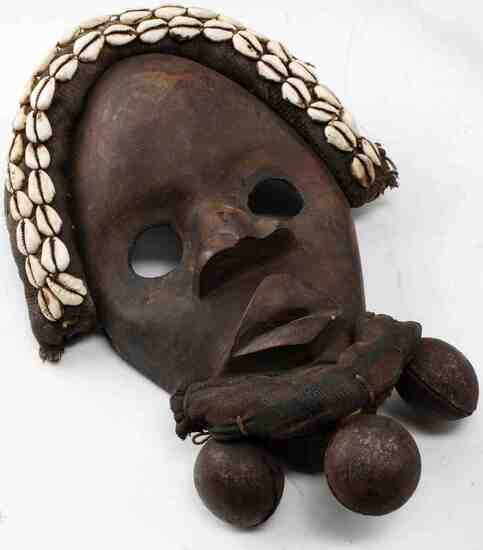 AFRICAN WOODEN CARVED DANCE DAN MASK W BELLS