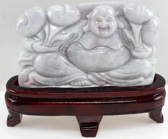 LAVENDER JADE POLISHED CARVING OF BUDDHA